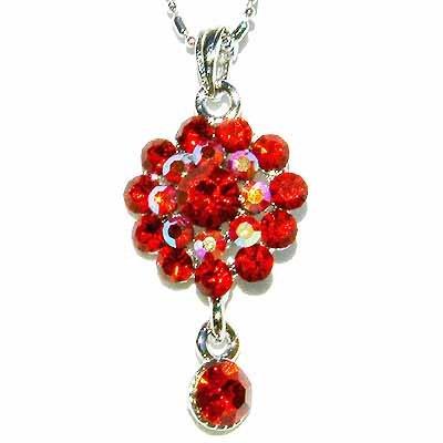 Red Flower Swarovski Crystal Necklace