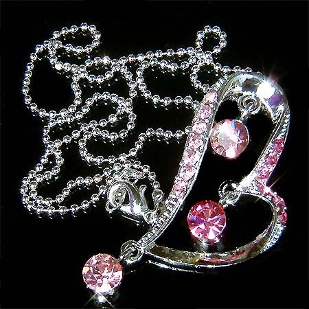 Swarovski Crystal Pink Heart Drop Pendant Chain Necklace