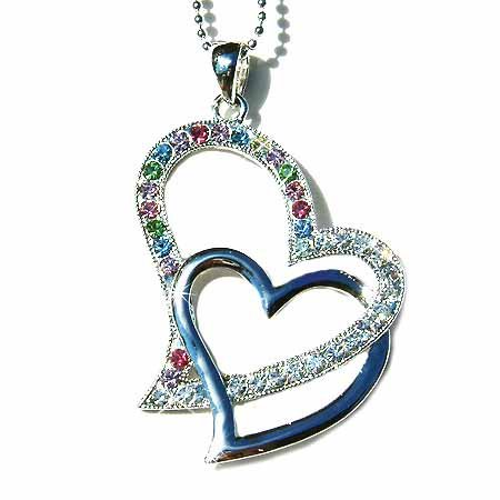 Double Cutout Heart Swarovski Crystal Necklace