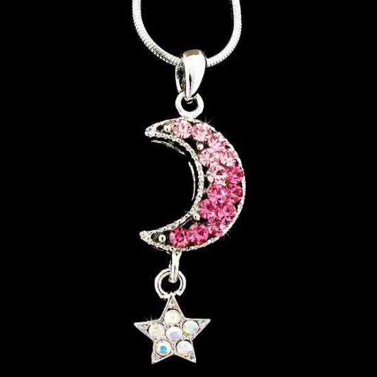 Crescent Moon Star Pink Swarovski Crystal Necklace