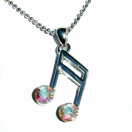 Clear AB Sixteenth Music note Swarovski Crystal Necklace