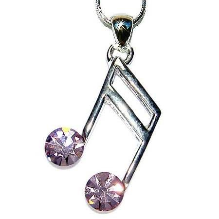 Purple Swarovski Crystal Sixteenth Music note Pendant Necklace