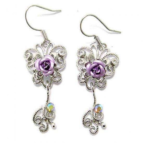 Purple Rose Butterfly Swarovski Crystal Bridesmaid Earrings