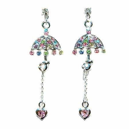 Umbrella Heart Drop Swarovski Crystal Earrings