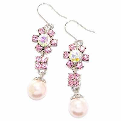 Flower Pink Swarovski Pearl Drop Crystal Earrings