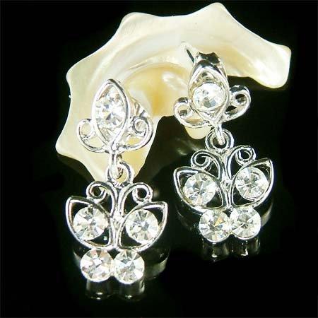 Clear Swarovski Crystal Bridal Wedding Butterfly Stud Earrings
