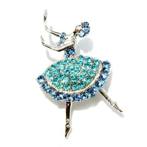 Aqua Ballerina / Ballet Dancer Swarovski Crystal Brooch