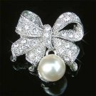 Cream White Pearl Bow Swarovski Crystal Brooch for Wedding Dress