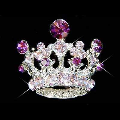 Purple Crown Swarovski Crystal Brooch