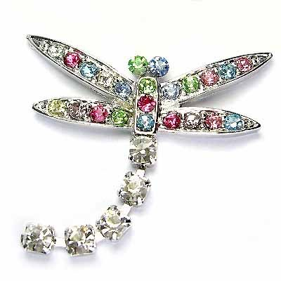 Rainbow Dangling Dragonfly Swarovski Crystal Brooch