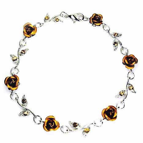 Topaz Gold Rose Flower Swarovski Crystal Bracelet