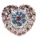 Purple Love Heart Flower Swarovski Crystal Cocktail Ring