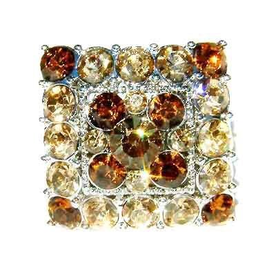 Topaz Gold Square Swarovski Crystal Cocktail Ring