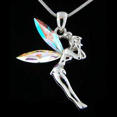 Clear Tinkerbell Fairy Swarovski Crystal Pixie Pendant Necklace