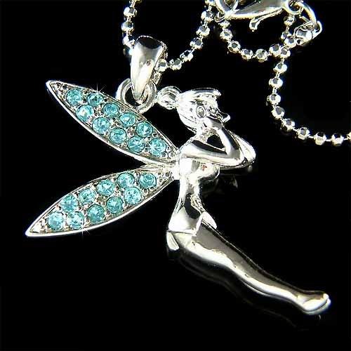Tinkerbell Fairy Swarovski Aqua Crystal  Necklace