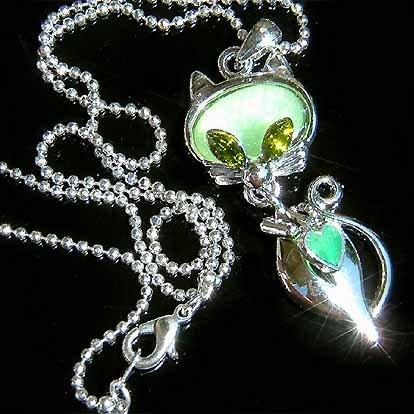 Green Cat Swarovski Crystal Necklace