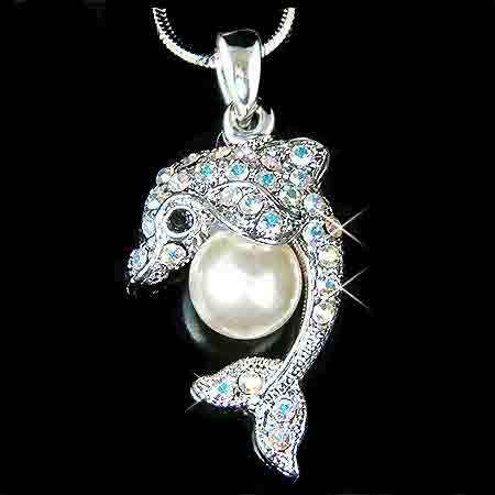 Clear Dolphin Pearl Ball Swarovski Crystal Necklace