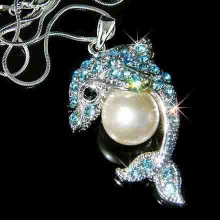 Aqua Dolphin Pearl Ball Swarovski Crystal Necklace
