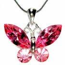 Bridal Wedding Swarovski Crystal Pink Butterfly Pendant Necklace