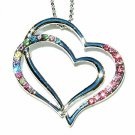 Pink Double Open Heart Swarovski Crystal Necklace