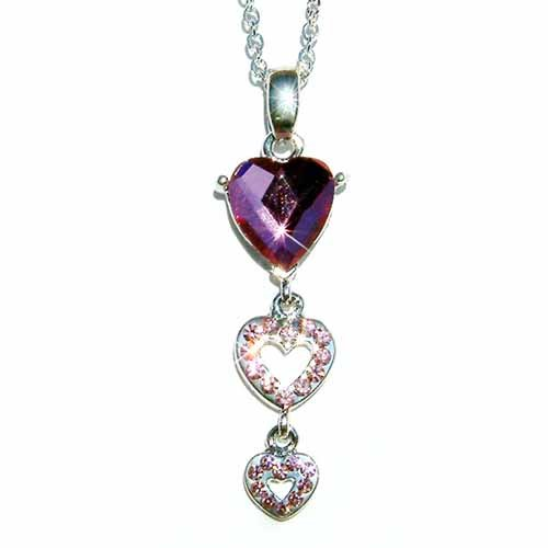 Swarovski Crystal Triple Purple Heart Pendant Chain Necklace