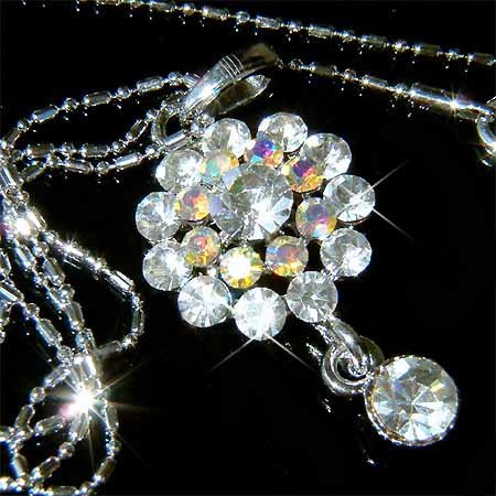 Clear Flower Swarovski Crystal Necklace