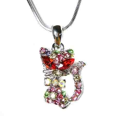 Rainbow Kitty Cat Swarovski Crystal Necklace