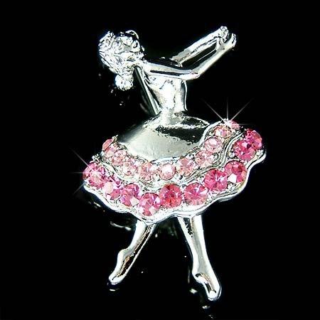Pink Ballerina / Ballet Dancer Swarovski Crystal Brooch