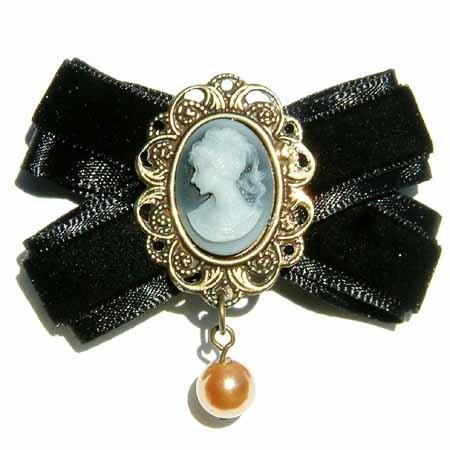 Black Cameo Bow Swarovski Pearl Brooch