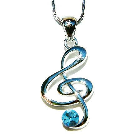 Aqua Treble G Clef Swarovski Crystal Necklace