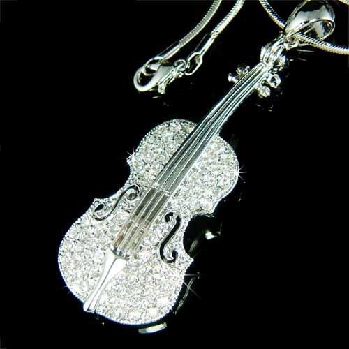 Swarovski Crystal Musical Instrument Violin Viola Cello Necklace