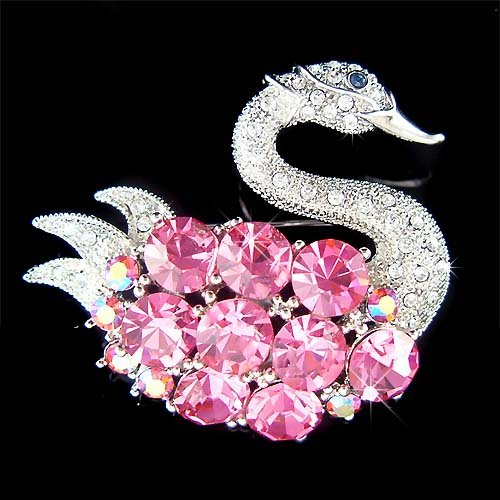 Big Pink Swan Swarovski Crystal Brooch