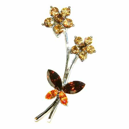 Topaz Brown Flower Bouquet Butterfly Swarovski Crystal Brooch