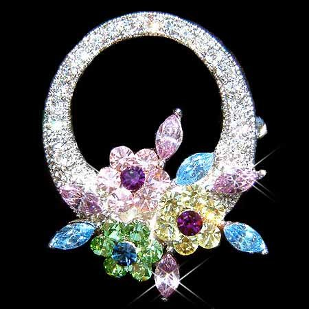 Rainbow Flower Wreath Swarovski Crystal Brooch