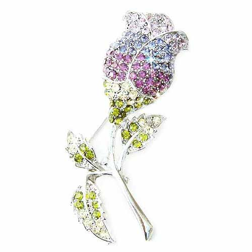 Big Purple Tulip Flower Swarovski Crystal Brooch