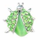 Green Ladybug Cateye Stone Swarovski Crystal Brooch