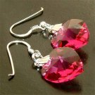 Swarovski Crystal Fuchsia Pink Heart Sterling Silver earrings