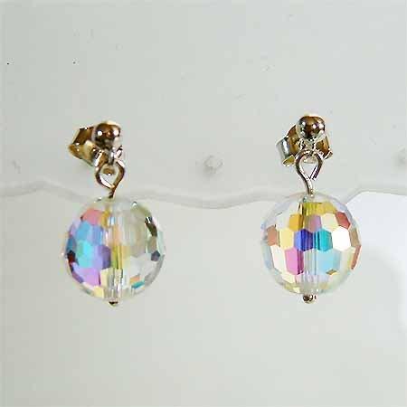 Swarovski Disco Ball Crystal Bridal Sterling Silver Stud Earring