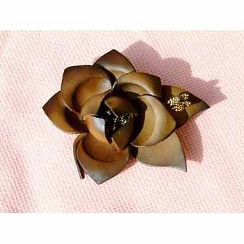 Brown Leather Flower Pin