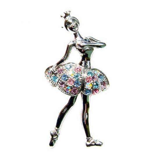 Pastel Ballerina / Ballet Dancer Swarovski Crystal Brooch