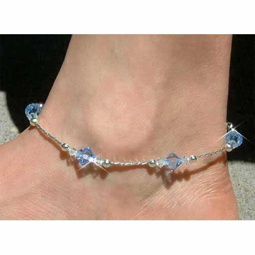 Something Blue Bridal Sterling Silver Crystal Anklet