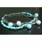 Aqua Swarovski Pearl Leather Bracelet