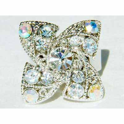 Bridal Clear Four Leaf Clover Shamrock Swarovski Crystal Ring