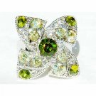 Swarovski Crystal Lucky Green Four Leaf Clover Shamrock Ring
