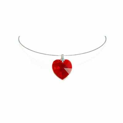Simple Red Heart Swarovski Crystal Necklace