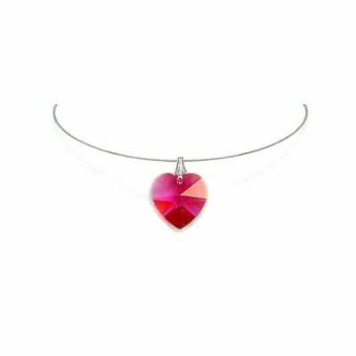 Simple Pink Heart Swarovski Crystal Necklace