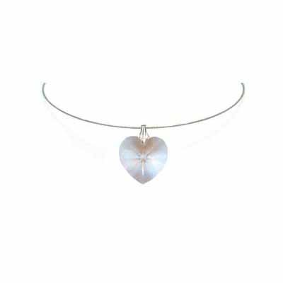 Simple Clear Heart Swarovski Crystal Necklace