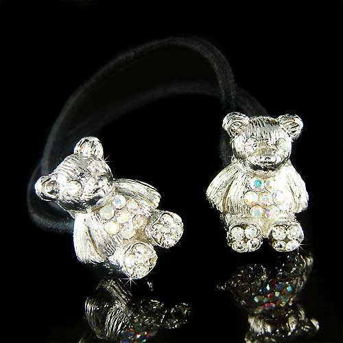 Swarovski Crystal Double Teddy Bear Ponytail Holder Hair Band