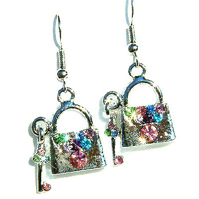 Lover Lock and Key Handbag Clover Swarovski Crystal earrings