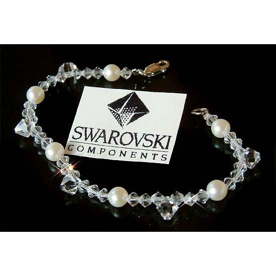 Swarovski Crystal Drop Freshwater Pearl Sterling Silver Bracelet